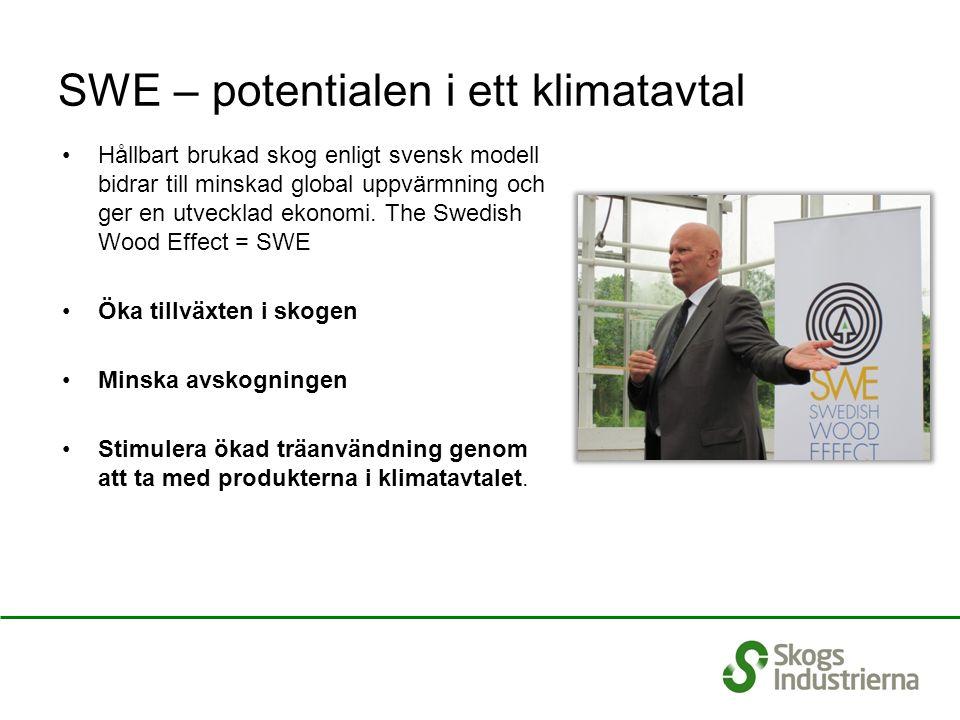 SWE – potentialen i ett klimatavtal Hållbart brukad skog enligt svensk modell bidrar till minskad global uppvärmning och ger en utvecklad ekonomi. The