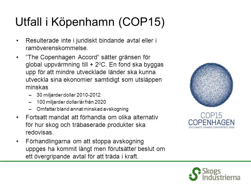 Utfall i Köpenhamn (COP15) Resulterade inte i juridiskt bindande avtal eller i ramöverenskommelse.