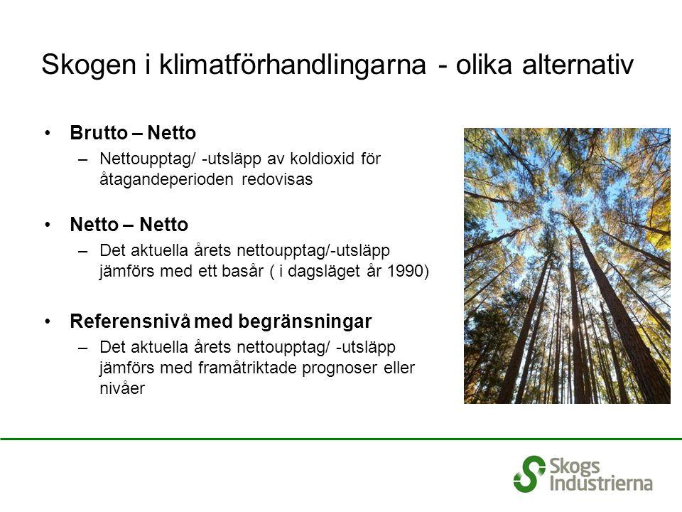 Skogen i klimatförhandlingarna - olika alternativ Brutto – Netto –Nettoupptag/ -utsläpp av koldioxid för åtagandeperioden redovisas Netto – Netto –Det aktuella årets nettoupptag/-utsläpp jämförs med ett basår ( i dagsläget år 1990) Referensnivå med begränsningar –Det aktuella årets nettoupptag/ -utsläpp jämförs med framåtriktade prognoser eller nivåer