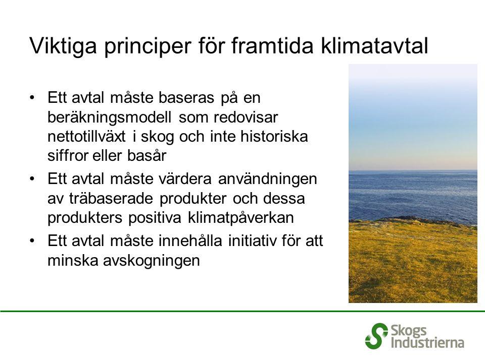 Viktiga principer för framtida klimatavtal Ett avtal måste baseras på en beräkningsmodell som redovisar nettotillväxt i skog och inte historiska siffr