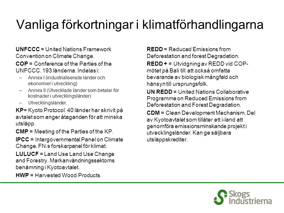 Vanliga förkortningar i klimatförhandlingarna UNFCCC = United Nations Framework Convention on Climate Change.