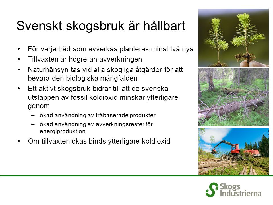 Svenskt skogsbruk är hållbart För varje träd som avverkas planteras minst två nya Tillväxten är högre än avverkningen Naturhänsyn tas vid alla skogliga åtgärder för att bevara den biologiska mångfalden Ett aktivt skogsbruk bidrar till att de svenska utsläppen av fossil koldioxid minskar ytterligare genom –ökad användning av träbaserade produkter –ökad användning av avverkningsrester för energiproduktion Om tillväxten ökas binds ytterligare koldioxid