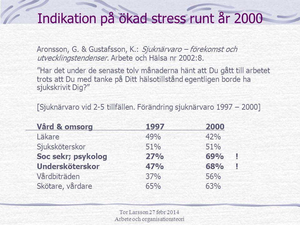 Tor Larsson 27 febr 2014 Arbete och organisationsteori sjuknärvaro forts … Undervisn.