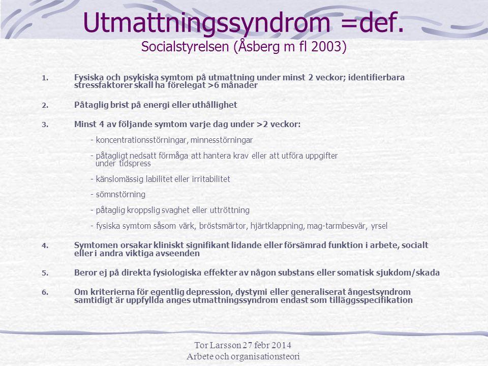 Tor Larsson 27 febr 2014 Arbete och organisationsteori Utmattningssyndrom =def.