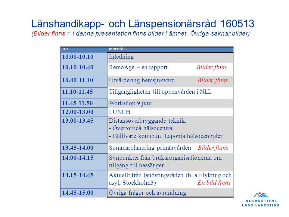 TIDINNEHÅLL 10.00-10.10Inledning 10.10-10.40RemoAge – en rapport Bilder finns 10.40-11.10Utvärdering hemsjukvård Bilder finns 11.10-11.45Tillgängligheten till öppenvården i NLL 11.45-11.50Workshop 9 juni 12.00-13.00LUNCH 13.00-13.45Distansöverbryggande teknik: - Övertorneå hälsocentral - Gällivare kommun, Laponia hälsocentraler 13.45-14.00Sommarplanering primärvården Bilder finns 14.00-14.15Synpunkter från brukarorganisationerna om tillgång till bassänger 14.15-14.45Aktuellt från landstingsråden (bl a Flykting och asyl, Stockholm3) En bild finns 14.45-15.00Övriga frågor och avrundning Länshandikapp- och Länspensionärsråd 160513 (Bilder finns = i denna presentation finns bilder i ämnet.
