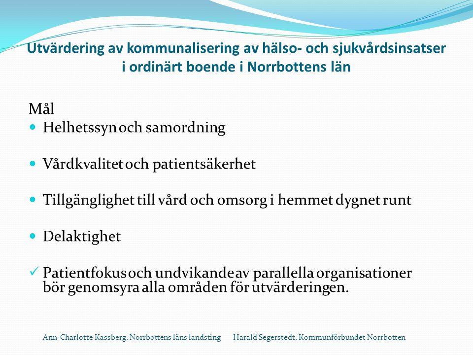 Utvärdering av kommunalisering av hälso- och sjukvårdsinsatser i ordinärt boende i Norrbottens län Mål Helhetssyn och samordning Vårdkvalitet och patientsäkerhet Tillgänglighet till vård och omsorg i hemmet dygnet runt Delaktighet Patientfokus och undvikande av parallella organisationer bör genomsyra alla områden för utvärderingen.