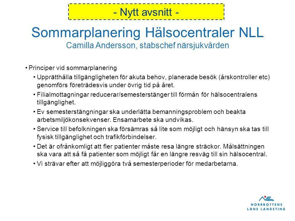 Sommarplanering Hälsocentraler NLL Camilla Andersson, stabschef närsjukvården Principer vid sommarplanering Upprätthålla tillgängligheten för akuta behov, planerade besök (årskontroller etc) genomförs företrädesvis under övrig tid på året.
