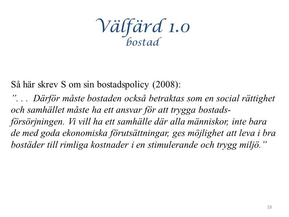 """Välfärd 1.0 bostad Så här skrev S om sin bostadspolicy (2008): """"... Därför måste bostaden också betraktas som en social rättighet och samhället måste"""