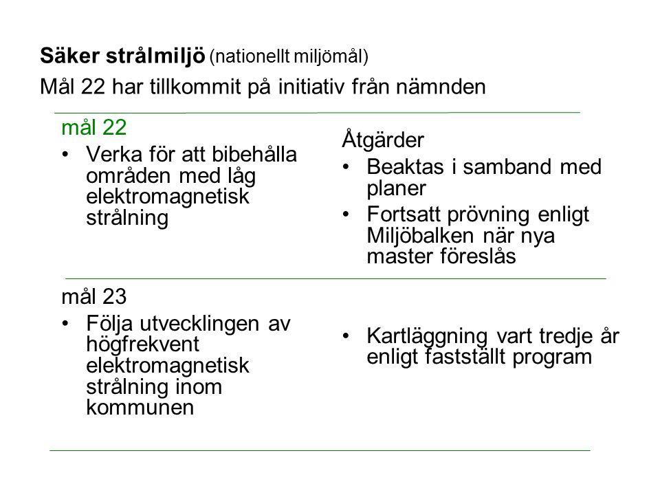 Säker strålmiljö (nationellt miljömål) Mål 22 har tillkommit på initiativ från nämnden mål 22 Verka för att bibehålla områden med låg elektromagnetisk