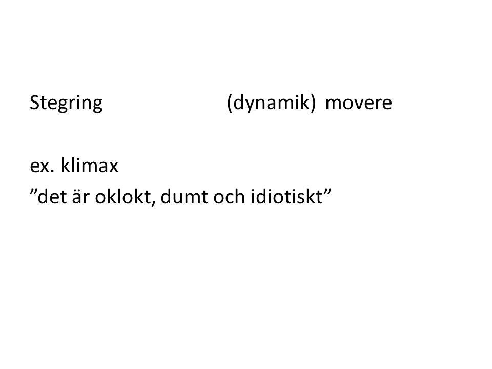 Stegring (dynamik)movere ex. klimax det är oklokt, dumt och idiotiskt