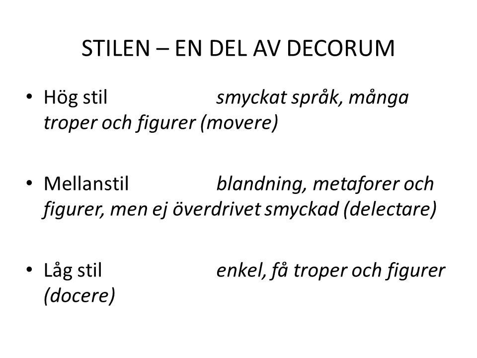 STILEN – EN DEL AV DECORUM Hög stil smyckat språk, många troper och figurer (movere) Mellanstil blandning, metaforer och figurer, men ej överdrivet smyckad (delectare) Låg stil enkel, få troper och figurer (docere)