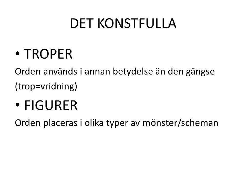 DET KONSTFULLA TROPER Orden används i annan betydelse än den gängse (trop=vridning) FIGURER Orden placeras i olika typer av mönster/scheman