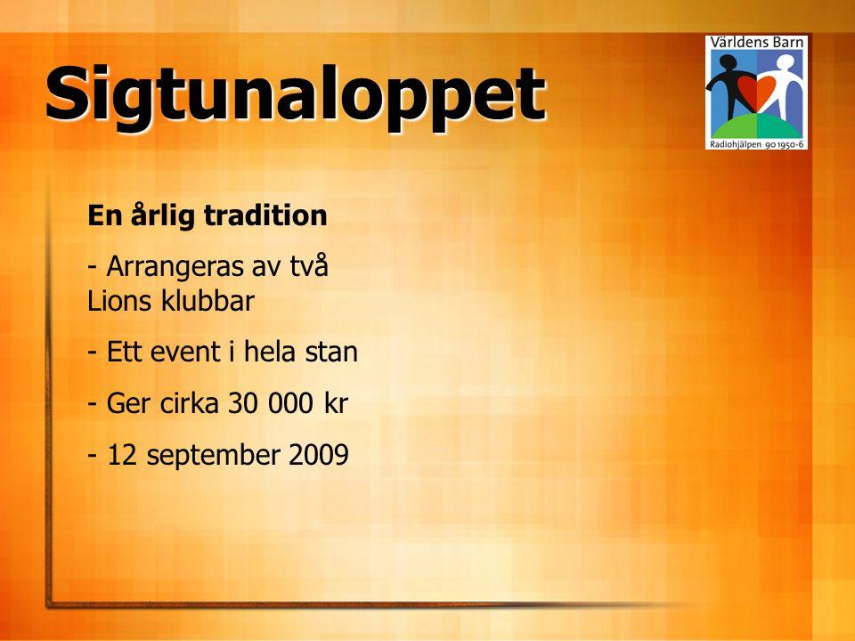 En årlig tradition - Arrangeras av två Lions klubbar - Ett event i hela stan - Ger cirka 30 000 kr - 12 september 2009 Sigtunaloppet