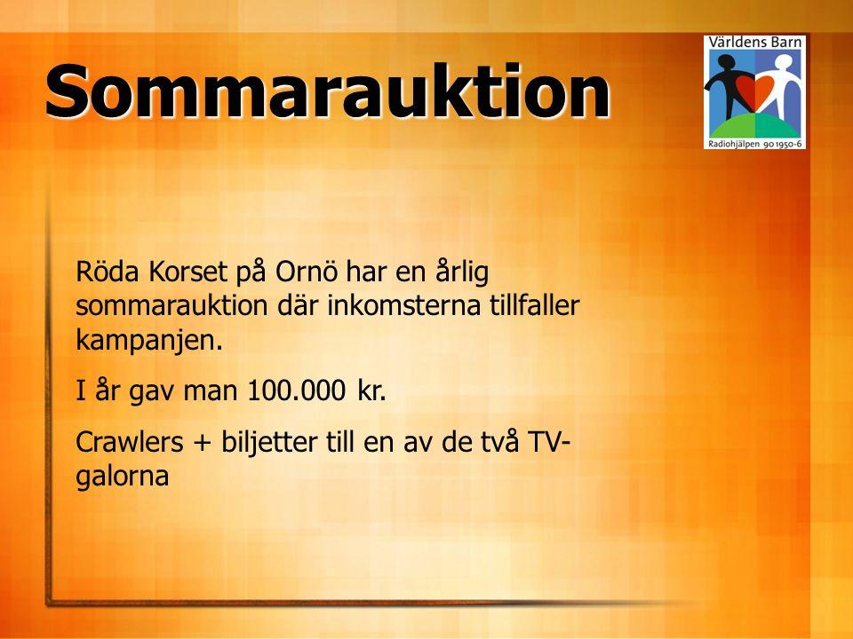 Sommarauktion Röda Korset på Ornö har en årlig sommarauktion där inkomsterna tillfaller kampanjen.