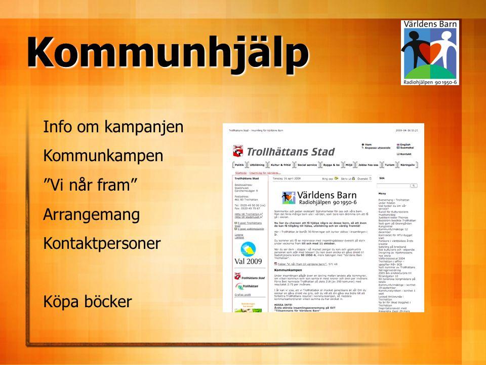Info om kampanjen Kommunkampen Vi når fram Arrangemang Kontaktpersoner Köpa böcker Kommunhjälp