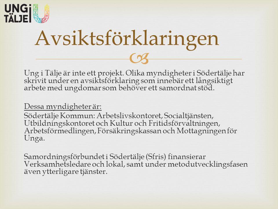  Ung i Tälje är inte ett projekt. Olika myndigheter i Södertälje har skrivit under en avsiktsförklaring som innebär ett långsiktigt arbete med ungdom