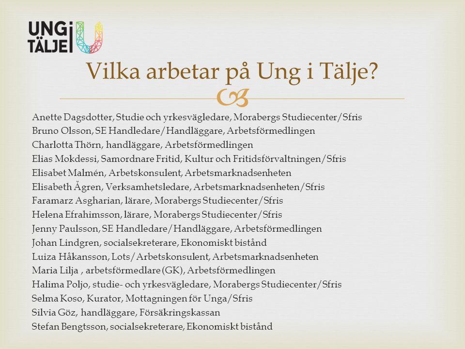 Anette Dagsdotter, Studie och yrkesvägledare, Morabergs Studiecenter/Sfris Bruno Olsson, SE Handledare/Handläggare, Arbetsförmedlingen Charlotta Thö