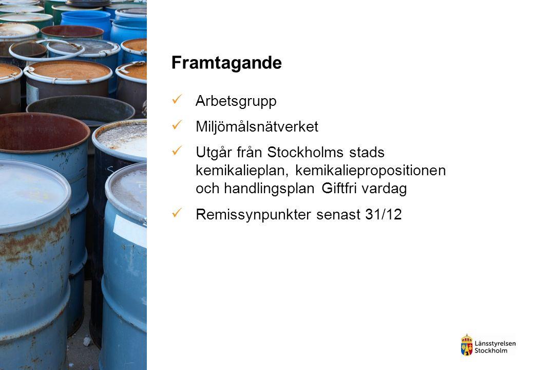 Genomförande Offentliga aktörernas egna handlingsplaner Gemensam kemikalieplan/ smörgåsbord av åtgärder Tyresö, Järfälla, Sollentuna, Haninge, Huddinge och Södertälje.