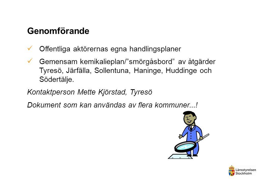 """Genomförande Offentliga aktörernas egna handlingsplaner Gemensam kemikalieplan/""""smörgåsbord"""" av åtgärder Tyresö, Järfälla, Sollentuna, Haninge, Huddin"""