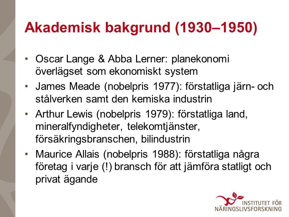 Akademisk bakgrund (1930–1950) Oscar Lange & Abba Lerner: planekonomi överlägset som ekonomiskt system James Meade (nobelpris 1977): förstatliga järn- och stålverken samt den kemiska industrin Arthur Lewis (nobelpris 1979): förstatliga land, mineralfyndigheter, telekomtjänster, försäkringsbranschen, bilindustrin Maurice Allais (nobelpris 1988): förstatliga några företag i varje (!) bransch för att jämföra statligt och privat ägande