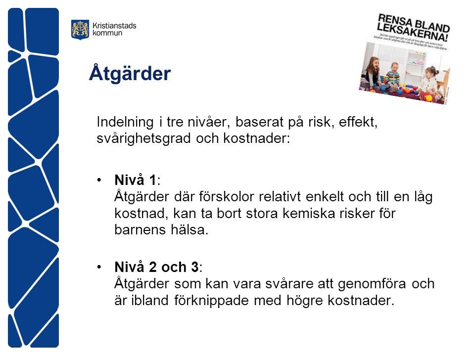 Åtgärder Indelning i tre nivåer, baserat på risk, effekt, svårighetsgrad och kostnader: Nivå 1: Åtgärder där förskolor relativt enkelt och till en låg