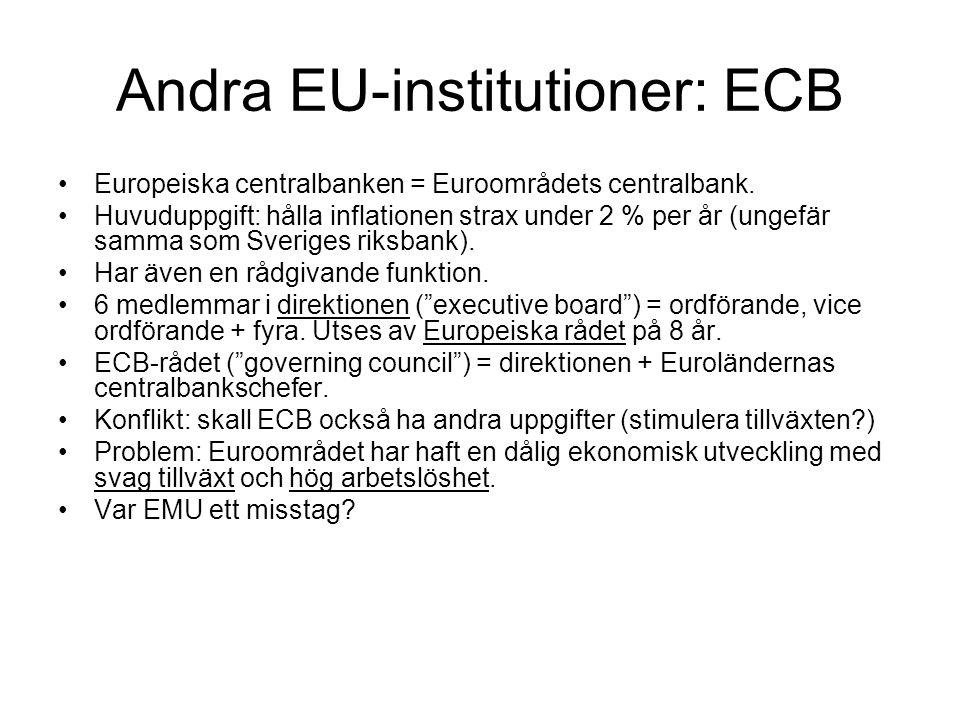 Andra EU-institutioner: ECB Europeiska centralbanken = Euroområdets centralbank. Huvuduppgift: hålla inflationen strax under 2 % per år (ungefär samma