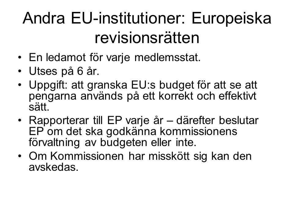 Andra EU-institutioner: Europeiska revisionsrätten En ledamot för varje medlemsstat.