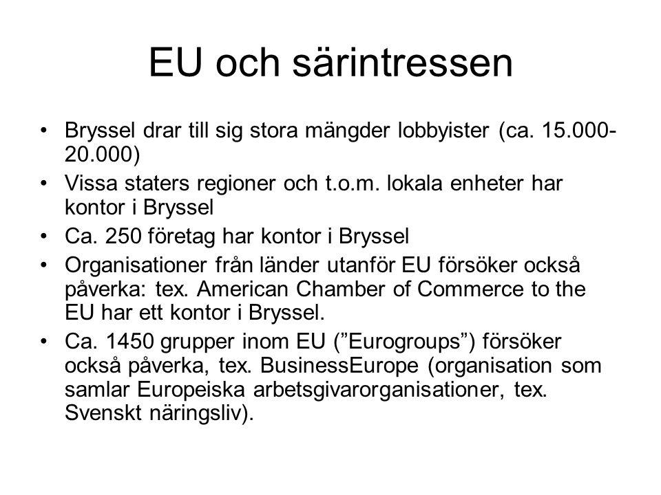 EU och särintressen Bryssel drar till sig stora mängder lobbyister (ca.