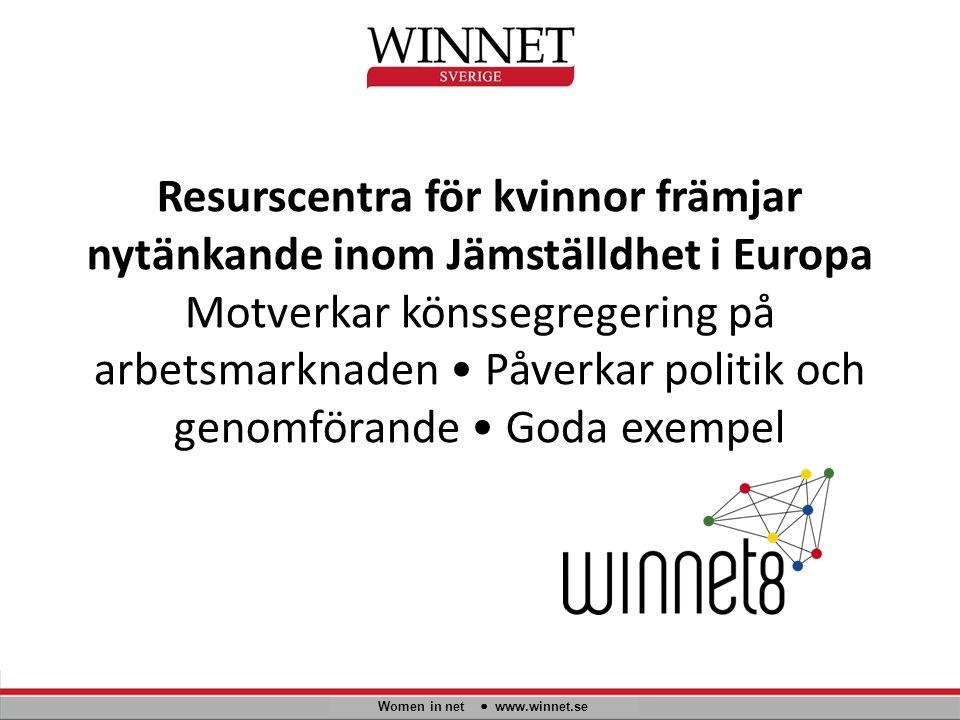 Resurscentra för kvinnor främjar nytänkande inom Jämställdhet i Europa Motverkar könssegregering på arbetsmarknaden Påverkar politik och genomförande Goda exempel Women in net www.winnet.se
