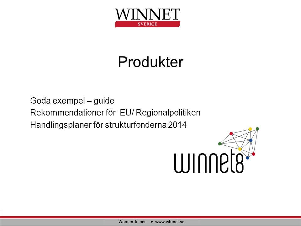 Produkter Women in net www.winnet.se Goda exempel – guide Rekommendationer för EU/ Regionalpolitiken Handlingsplaner för strukturfonderna 2014