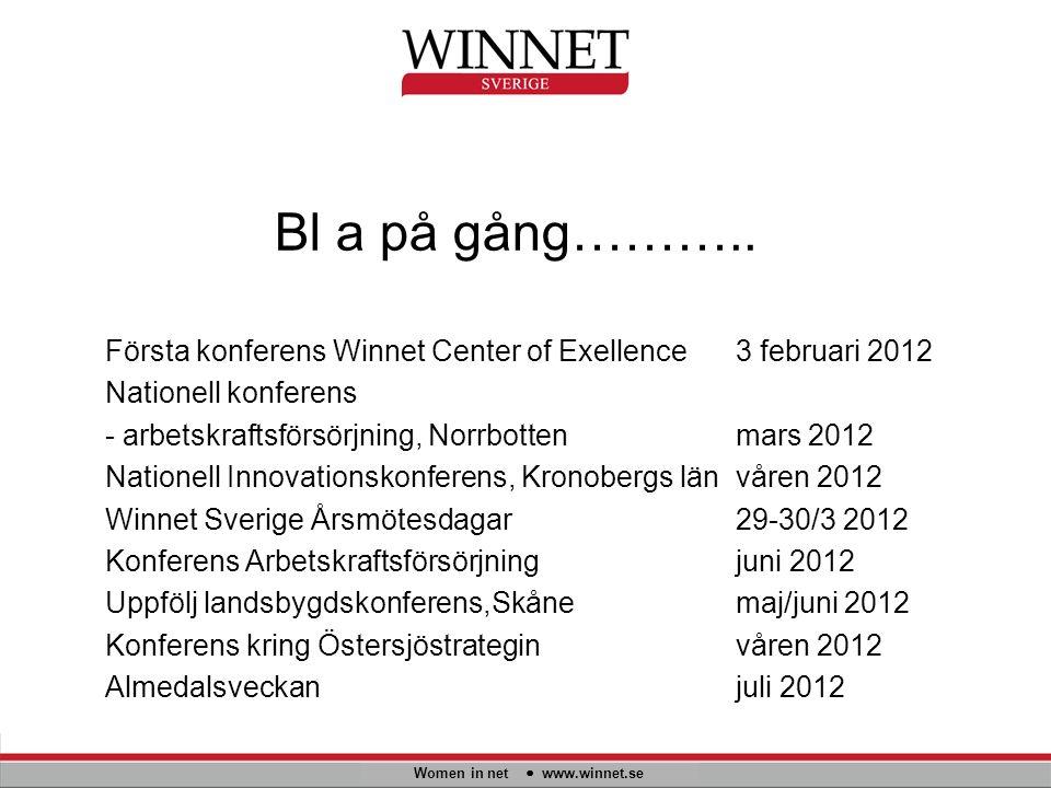 Bl a på gång……….. Women in net www.winnet.se Första konferens Winnet Center of Exellence3 februari 2012 Nationell konferens - arbetskraftsförsörjning,