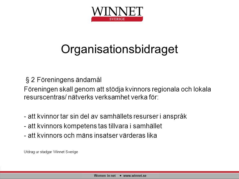Organisationsbidraget Women in net www.winnet.se § 2 Föreningens ändamål Föreningen skall genom att stödja kvinnors regionala och lokala resurscentras