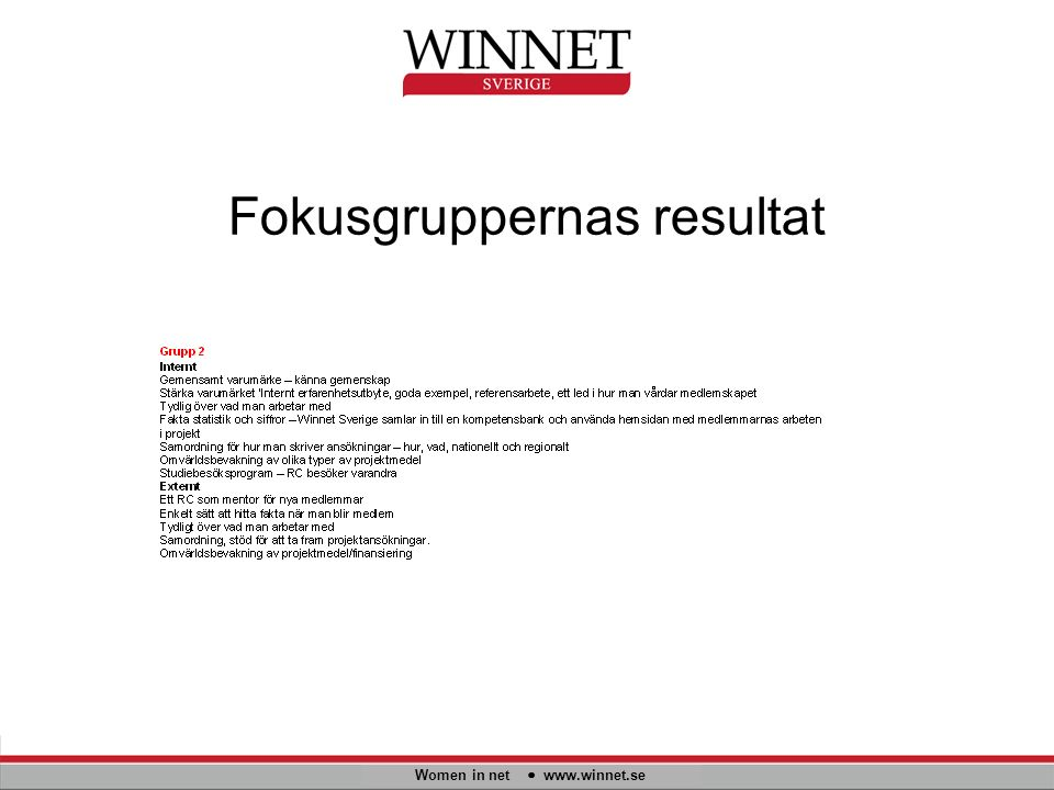 Fokusgruppernas resultat Women in net www.winnet.se