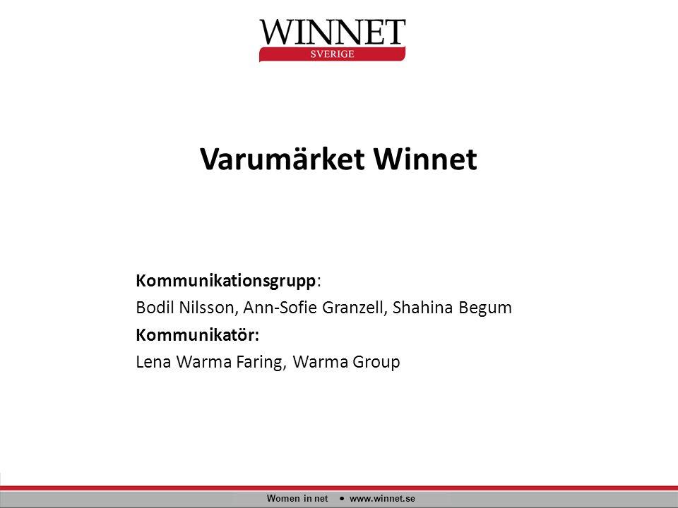Varumärket Winnet Women in net www.winnet.se Kommunikationsgrupp: Bodil Nilsson, Ann-Sofie Granzell, Shahina Begum Kommunikatör: Lena Warma Faring, Warma Group