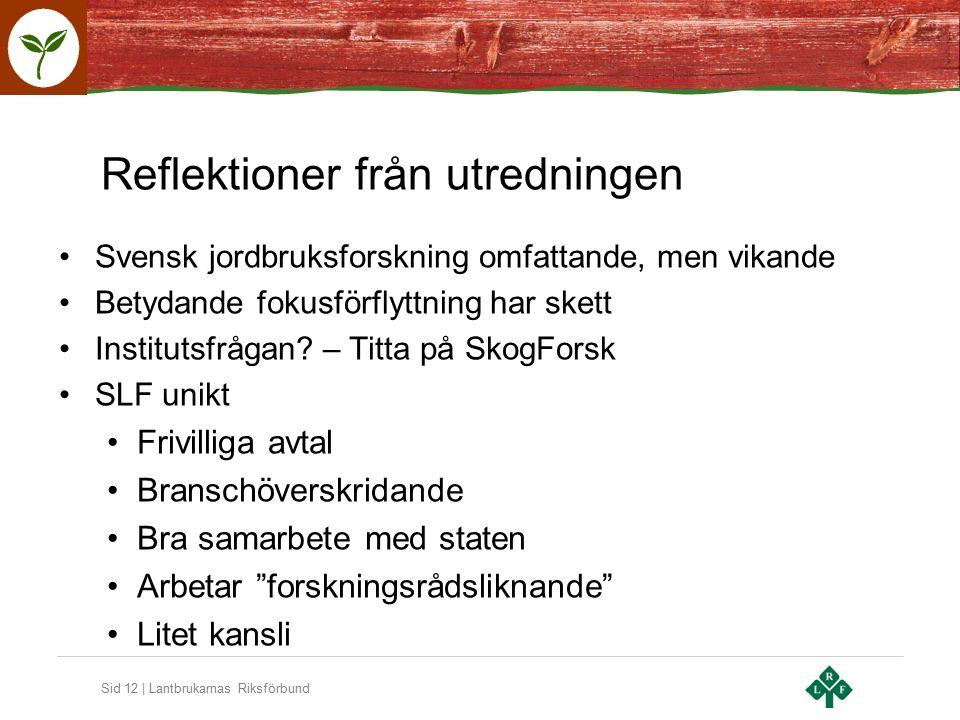 Sid 12 | Lantbrukarnas Riksförbund Reflektioner från utredningen Svensk jordbruksforskning omfattande, men vikande Betydande fokusförflyttning har skett Institutsfrågan.