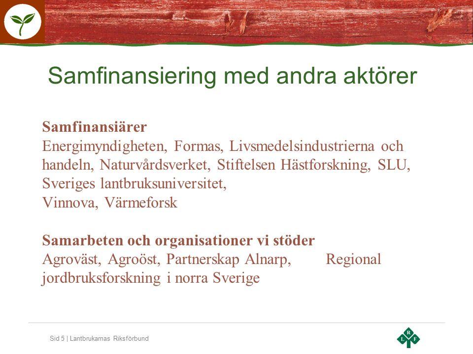 Sid 5 | Lantbrukarnas Riksförbund Samfinansiärer Energimyndigheten, Formas, Livsmedelsindustrierna och handeln, Naturvårdsverket, Stiftelsen Hästforskning, SLU, Sveriges lantbruksuniversitet, Vinnova, Värmeforsk Samarbeten och organisationer vi stöder Agroväst, Agroöst, Partnerskap Alnarp,Regional jordbruksforskning i norra Sverige Samfinansiering med andra aktörer