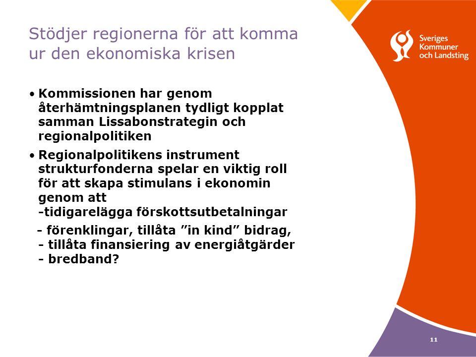 11 Stödjer regionerna för att komma ur den ekonomiska krisen Kommissionen har genom återhämtningsplanen tydligt kopplat samman Lissabonstrategin och regionalpolitiken Regionalpolitikens instrument strukturfonderna spelar en viktig roll för att skapa stimulans i ekonomin genom att -tidigarelägga förskottsutbetalningar - förenklingar, tillåta in kind bidrag, - tillåta finansiering av energiåtgärder - bredband