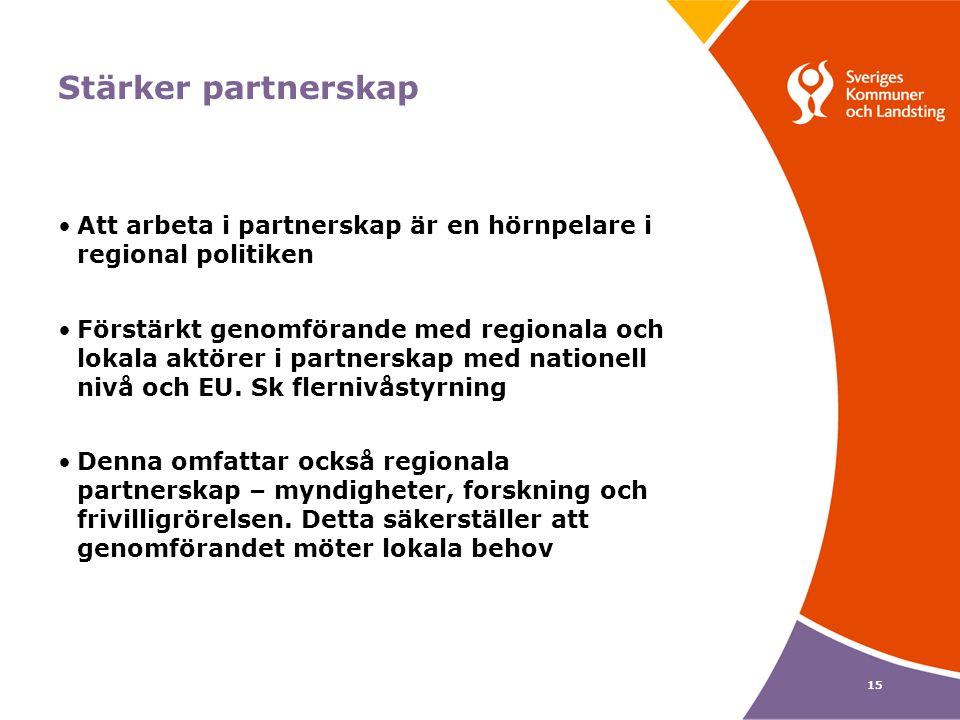 15 Stärker partnerskap Att arbeta i partnerskap är en hörnpelare i regional politiken Förstärkt genomförande med regionala och lokala aktörer i partnerskap med nationell nivå och EU.