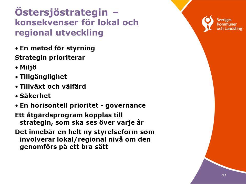 17 Östersjöstrategin – konsekvenser för lokal och regional utveckling En metod för styrning Strategin prioriterar Miljö Tillgänglighet Tillväxt och välfärd Säkerhet En horisontell prioritet - governance Ett åtgärdsprogram kopplas till strategin, som ska ses över varje år Det innebär en helt ny styrelseform som involverar lokal/regional nivå om den genomförs på ett bra sätt
