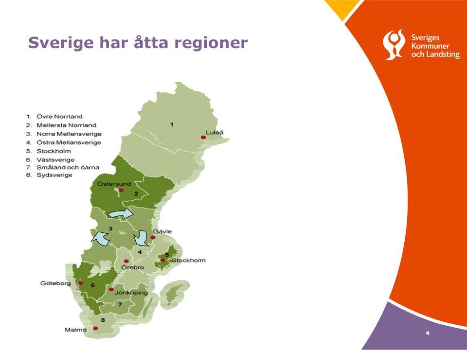 4 Sverige har åtta regioner