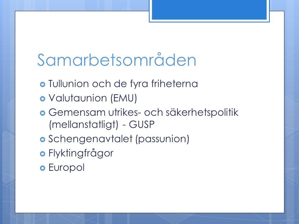Samarbetsområden  Tullunion och de fyra friheterna  Valutaunion (EMU)  Gemensam utrikes- och säkerhetspolitik (mellanstatligt) - GUSP  Schengenavtalet (passunion)  Flyktingfrågor  Europol