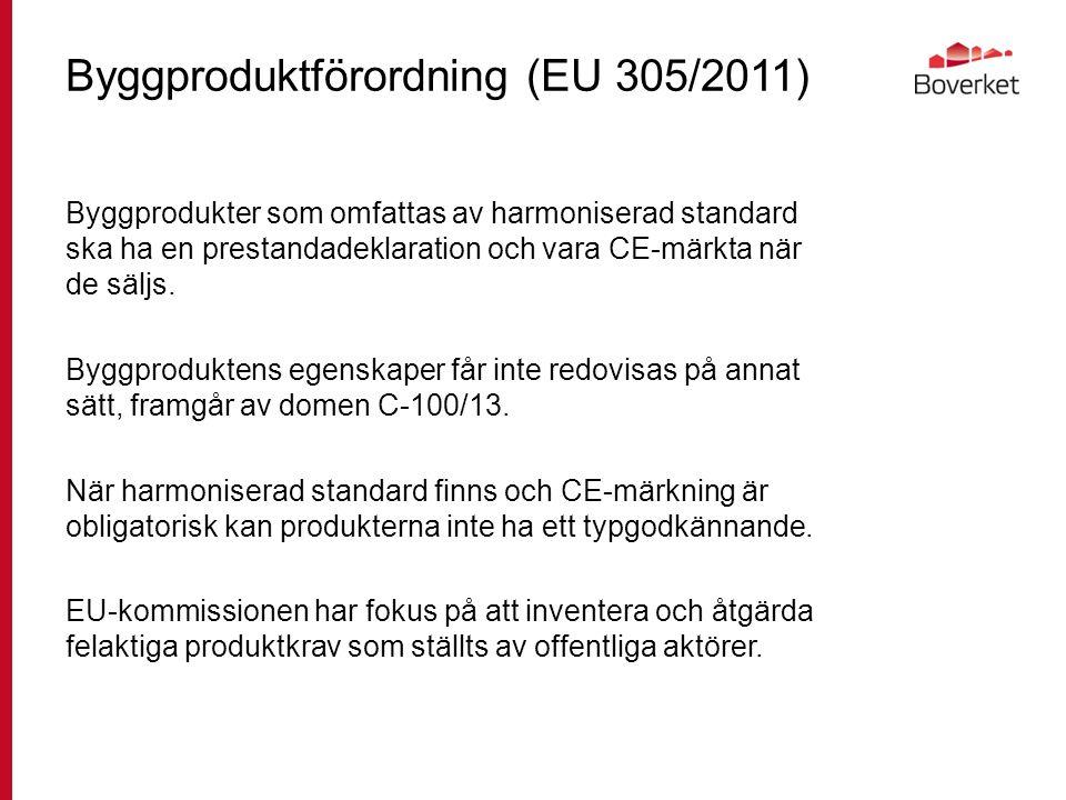 Byggproduktförordning (EU 305/2011) Byggprodukter som omfattas av harmoniserad standard ska ha en prestandadeklaration och vara CE-märkta när de säljs