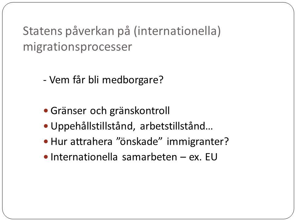 Statens påverkan på (internationella) migrationsprocesser - Vem får bli medborgare.