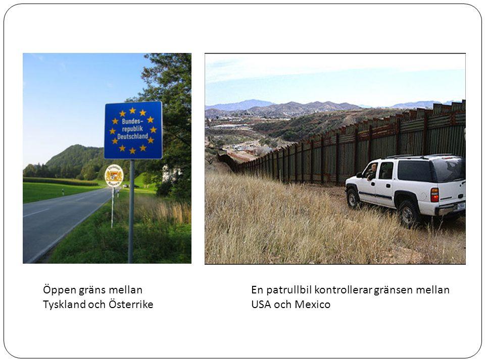 Öppen gräns mellan Tyskland och Österrike En patrullbil kontrollerar gränsen mellan USA och Mexico