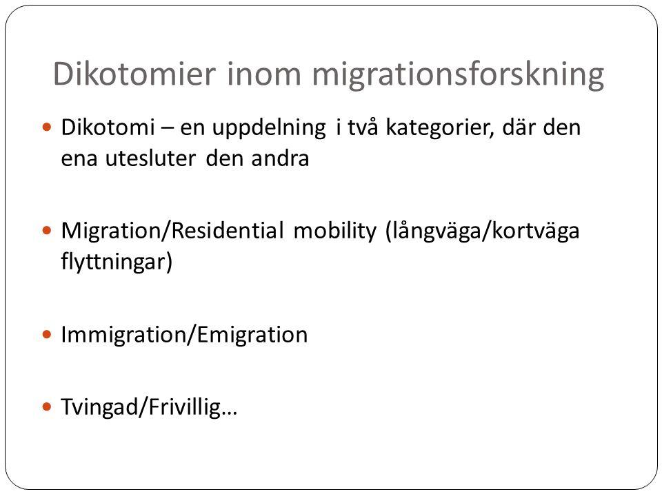 Dikotomier inom migrationsforskning Dikotomi – en uppdelning i två kategorier, där den ena utesluter den andra Migration/Residential mobility (långväga/kortväga flyttningar) Immigration/Emigration Tvingad/Frivillig…
