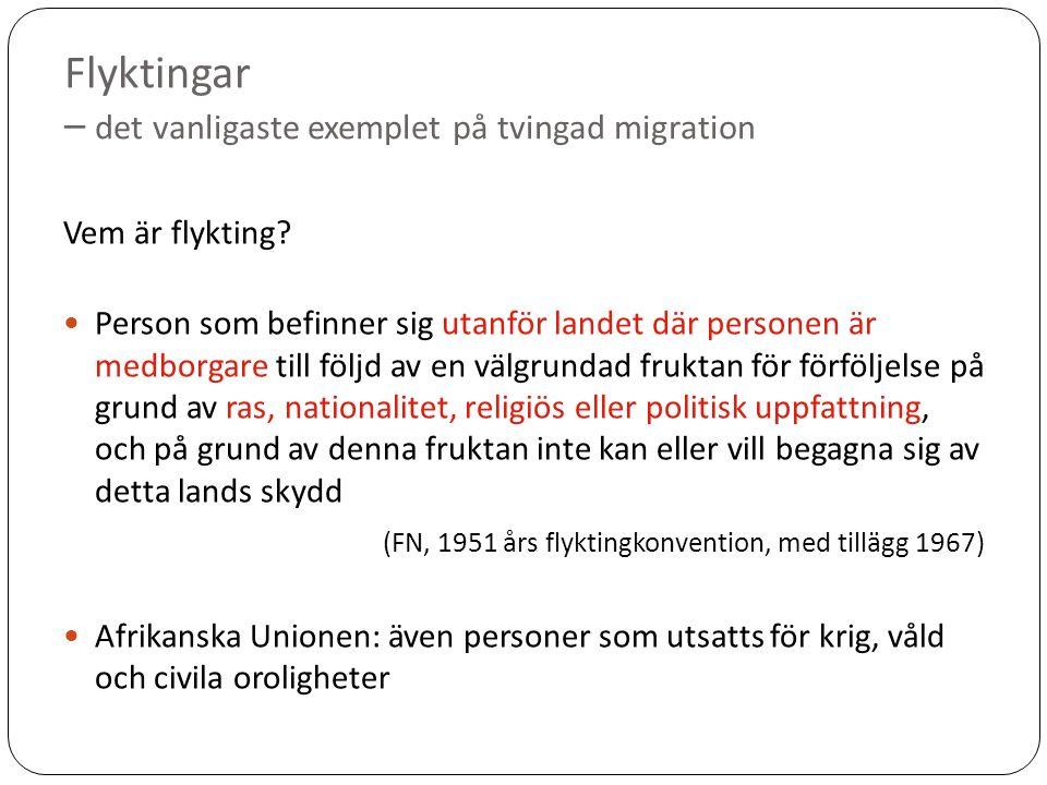 Flyktingar – det vanligaste exemplet på tvingad migration Vem är flykting.