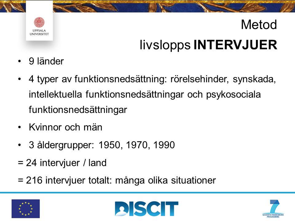 Metod livslopps INTERVJUER 9 länder 4 typer av funktionsnedsättning: rörelsehinder, synskada, intellektuella funktionsnedsättningar och psykosociala f