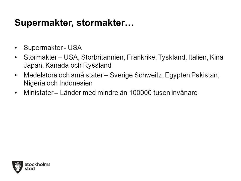 Supermakter, stormakter… Supermakter - USA Stormakter – USA, Storbritannien, Frankrike, Tyskland, Italien, Kina Japan, Kanada och Ryssland Medelstora och små stater – Sverige Schweitz, Egypten Pakistan, Nigeria och Indonesien Ministater – Länder med mindre än 100000 tusen invånare