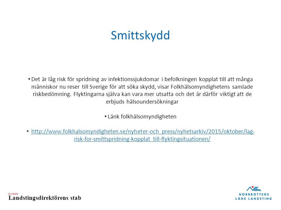 DIVISION Landstingsdirektörens stab Smittskydd Det är låg risk för spridning av infektionssjukdomar i befolkningen kopplat till att många människor nu reser till Sverige för att söka skydd, visar Folkhälsomyndighetens samlade riskbedömning.