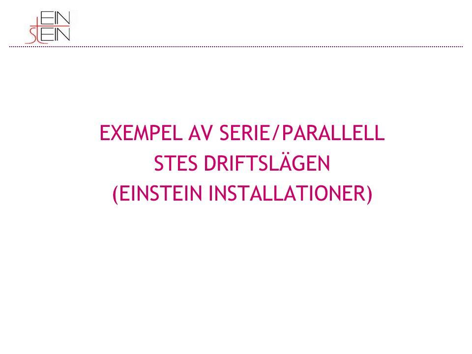 EXEMPEL AV SERIE/PARALLELL STES DRIFTSLÄGEN (EINSTEIN INSTALLATIONER)